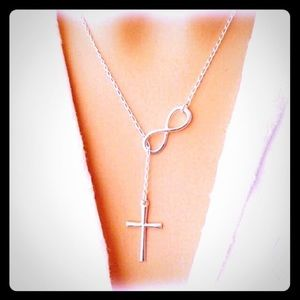Silver Cross & Infinity Dangle Necklace Choker